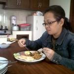 sarapan pagi...nasi goreng, telur dan corned